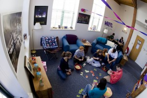 Students play a game in their dorm room