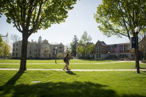 Students walk the pathways on the LVC Academic Quad
