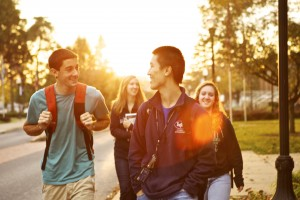 LVC students walk through campus