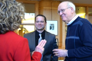 LVC's faculty chat at an open forum