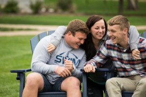 Students spend time together on the quad