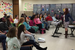 Jordyn Shields, an LVC music education graduate, performs for her classroom