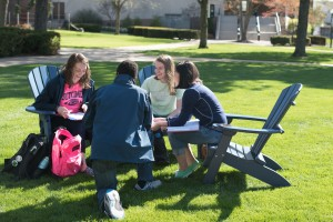 LVC students socialize on the academic quad