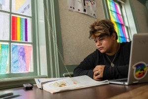 An LVC student studies inside the Stonewall House
