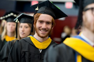 An LVC student waits in line at commencement