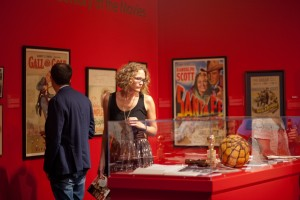 An Annville community member browses the exhibit at the Suzanne H. Arnold Art Gallery