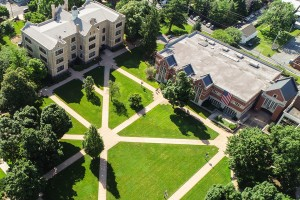aerial image of LVC academic quad