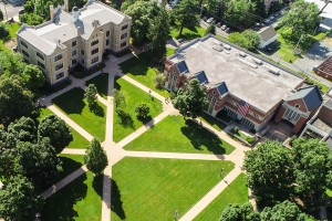 Aerial shot of LVC academic quad