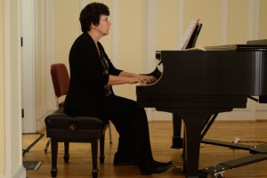 LVC Music Professor Shelly Moorman-Stahlman plays the piano in Zimmerman Recital Hall