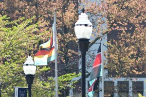 Many international flags line Sheridan Avenue in the middle of LVC's campus
