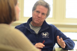Dr. Gary Grieve-Carlson, professor of English at LVC, collaborates with a student