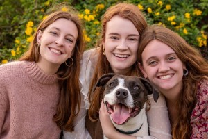 The MacLaren's daughters and dog