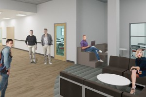 3D Rendering of the student lounge for the Speech-Language Pathology Program clinic