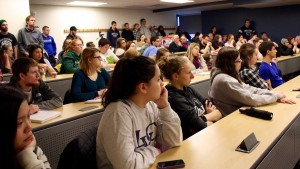Lebanon Valley College students intently listen to a lecture