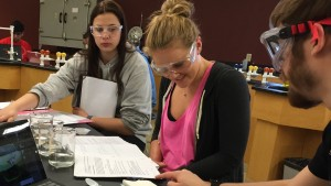LVC Chemistry majors work in groups to complete experiments in class