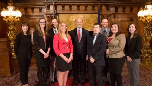 Lebanon Valley College politics majors meet and discuss politics with Pennsylvania Governor Tom Wolf