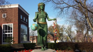 The Cuewe Pehelle statue is decorated for Earth Day