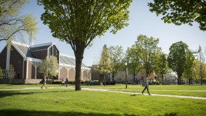 Students walking in the academic quad