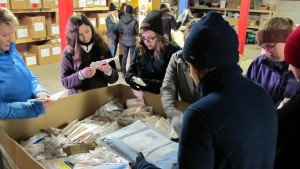 LVC students volunteer their time packing medical supplies