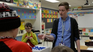 An LVC graduate teaches chemistry concepts to her elementary school classroom