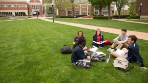LVC students work together on the Academic Quad