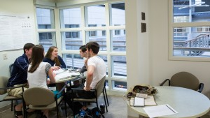 Lebanon Valley College Mathematics students collaborate on an assignment