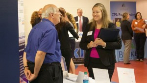 LVC accounting student discusses the MBA accounting program at Career Fair
