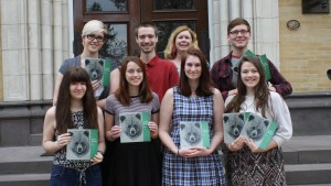 Lebanon Valley College students pose with issues of the Green Blotter
