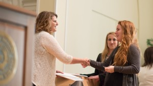 An LVC student is inducted into an honor society