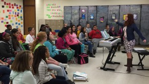 Jordyn Shields, an LVC Music Education graduate, presents a lesson to her students