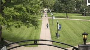 Students walking on the LVC Academic Quad