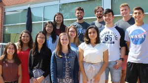 Allwein scholars pose outside of Mund College Center