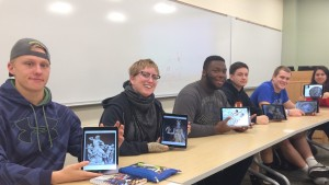 LVC Art & Visual Culture students pose with their digital artwork