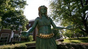 The Cuewe Pahilla is one of the statues featured on campus