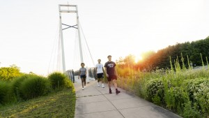 A lebanon valley college students walk a sunset