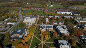 An aerial view of LVC's campus
