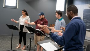 LVC music majors learning conducting techniques