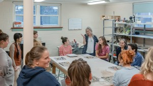 LVC students work in the art classroom on their upcoming designs