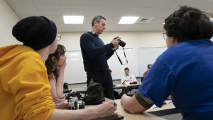 Students learn about film in the Dark Room Class.
