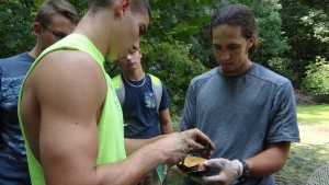LVC Biology students measure a freshwater turtle as part of the annual survey