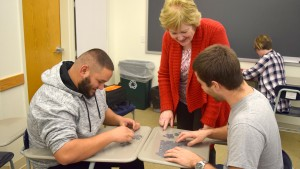 LVC Education majors work together to solve a puzzle-based activity