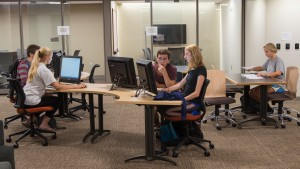 Digital communications students work diligently in the Center for Writing & Tutoring