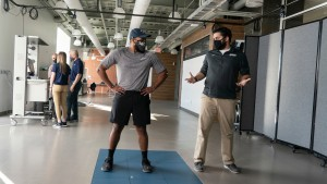 Exercise science majors use 3D motion capture in the new human performance laboratory at Lebanon Valley College.