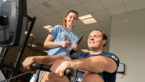The LVC Exercise students using rowing machine