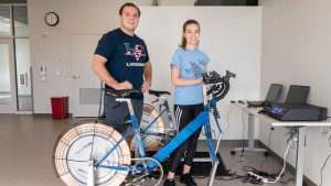 LVC Exercise Science majors using stationary bikes