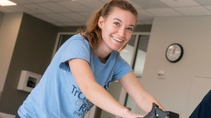 LVC Exercise Science student tests her cardio on stationary bike
