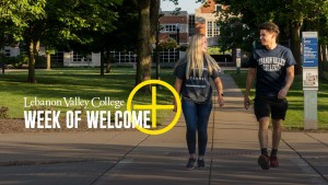 Students walk across campus at Lebanon Valley College