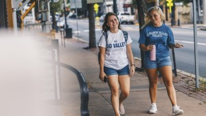 Students walk down Main St in Annville.
