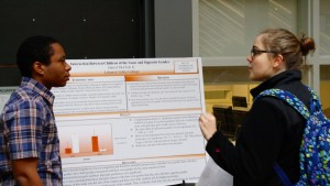 Psychology majors discuss their research during the annual psychology poster session