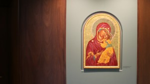 Egg tempera and gold leaf painting of the Mother of God, Queen of Peace by Dorothy Thayne